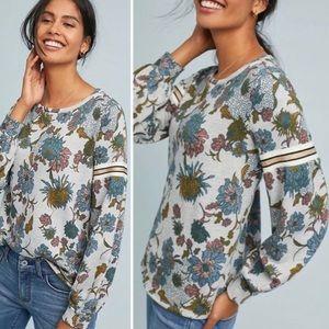 Anthro Dolan Gray Floral Sweatshirt